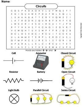 Electricity and Circuits Worksheet/ Word Search by Science