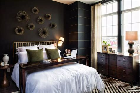 Bedroom Decorating with Black Wallpaper, 2 Modern Wall