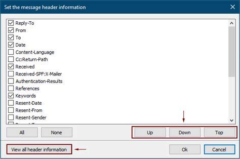 Easily display or show message header information in