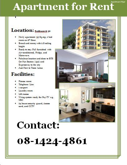 Apartment Flyer Template   Apartments for rent, Renting a