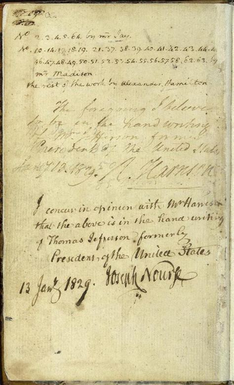 Jefferson's Notations in The Federalist Papers