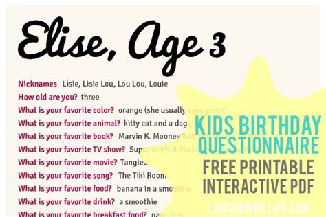 Kids birthday interview questionnaire: FREE printable form