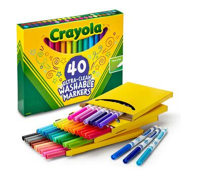 40 Count Ultra-Clean Markers, Fine Line - Crayola