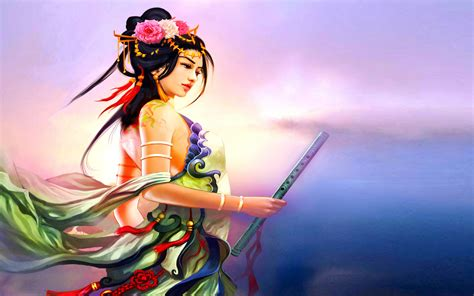 Beautiful-goddess with traditional Japanese bamboo flute