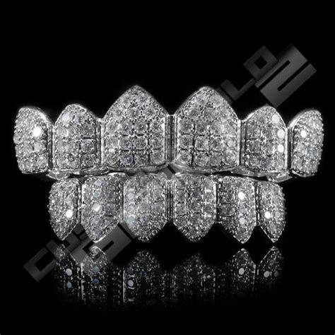 Get White Gold Plated CZ Cluster Premium Grillz for Sale