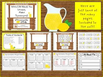 """Sour Synonyms: A """"Lemonade Stand"""" Center/Group Activity by"""